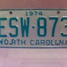 1974 North Carolina EX YOM Passenger License Plate NC ESW-873