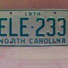 1974 North Carolina EX YOM Passenger License Plate NC ELE-233