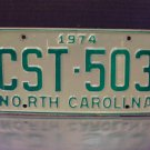 1974 North Carolina EX YOM Passenger License Plate NC CST-503