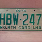 1974 North Carolina Mint License Plate Tag NC #HBW-247