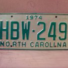1974 North Carolina Mint License Plate Tag NC #HBW-249