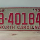 1973 North Carolina NC Trailer License Plate Tag #B-40184