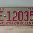 1973 North Carolina YOM Trailer License Plate Tag NC #E-12035
