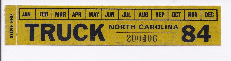 1984 North Carolina NC NOS Farm Truck License Plate Validation Sticker