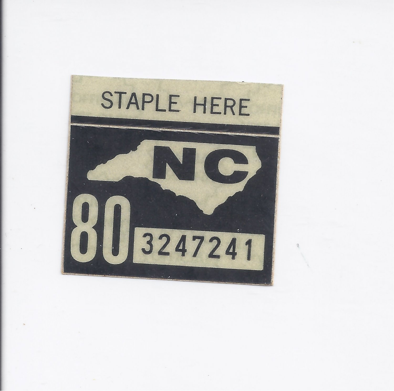 1980 North Carolina NC NOS License Plate Validation Sticker