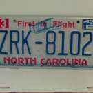 2013 North Carolina NC First in Flight License Plate ZRK-8102