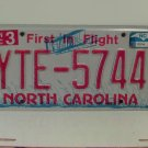 2013 North Carolina NC First in Flight License Plate YTE-5744