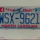 2008 North Carolina NC Blue Letter License Plate Tag WSX-9621