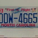 2014 Watermark Dated North Carolina License Plate NC #DDW-4665