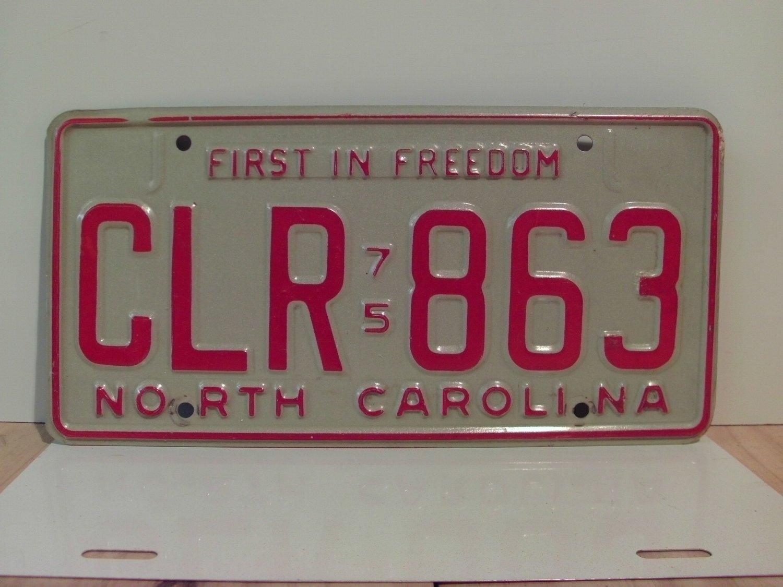 1975 North Carolina YOM License Plate Tag EX NC CLR-863