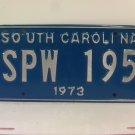 1973 South Carolina SC License Plate Tag #SPW-195