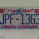 1997 North Carolina NC First in Flight License Plate JPF-1363