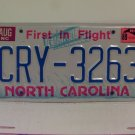 1989 North Carolina NC First in Flight License Plate CRY-3263