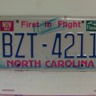 1988 North Carolina NC First in Flight License Plate BZT-4211