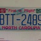 1988 North Carolina NC First in Flight License Plate BTT-2489