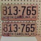 1949 North Carolina NC Truck License Plate Pair 813-765