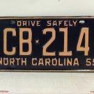 1959 North Carolina Rat Rod License Plate Tag NC #CB-214 YOM