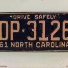1961 North Carolina Rat Rod License Plate Tag NC #DP-3126 YOM