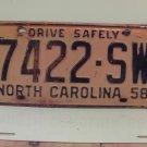 1958 North Carolina NC License Plate 7422-SW