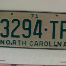 1971 North Carolina NC License Plate 3294-TP
