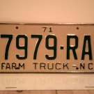1971 North Carolina NC Farm Truck License Plate 7979-RA Mint