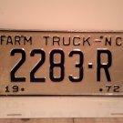 1972 North Carolina NC Farm Truck License Plate 2283-R Mint