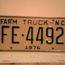 1976 North Carolina NC Farm Truck License Plate FE-4492 Mint