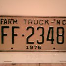 1976 North Carolina NC Farm Truck License Plate FF-2348