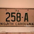 1971 North Carolina NC YOM Taxi License Plate 258-A EX