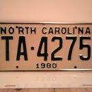 1980 North Carolina NC YOM Taxi License Plate TA-4275 Mint