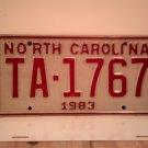 1983 North Carolina NC Taxi License Plate TA-1767 EX