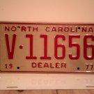 1977 North Carolina Dealer License Plate NC V-11656 Mint