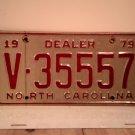 1979 North Carolina Dealer License Plate NC V-35557