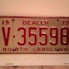 1979 North Carolina Dealer License Plate NC V-35598
