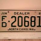 1981 North Carolina Franchised Dealer License Plate NC FD-20681