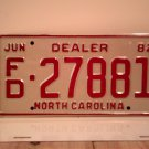 1982 North Carolina Franchised Dealer License Plate NC FD-27881 Mint