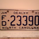 1983 North Carolina Franchised Dealer License Plate NC FD-23390