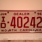 1996 North Carolina Franchised Dealer License Plate NC ID-40242 EX