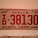 2002 North Carolina Franchised Dealer License Plate NC ID-38130 EX