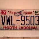2007 North Carolina NC First in Flight License Plate VWL-9503 EX