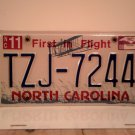 2009 North Carolina NC First in Flight License Plate TZJ-7244