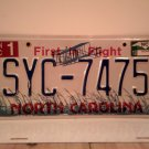 2010 North Carolina NC First in Flight License Plate SYC-7475