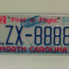 2000 North Carolina NC License Plate Tag #LZX-8888