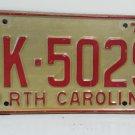 1970 North Carolina NC YOM Passenger License Plate CK-5029