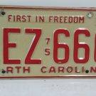 1977 North Carolina NC YOM Passenger License Plate LEZ-666