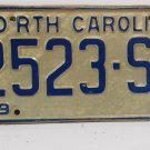 1972 North Carolina NC YOM Truck License Plate 2523-SR