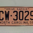1956 North Carolina Rat Rod License Plate Tag NC #CW-3029 YOM