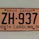 1958 North Carolina Rat Rod License Plate Tag NC #ZH-937 YOM
