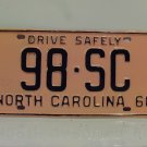 1960 North Carolina Rat Rod License Plate Tag NC #98-ST YOM