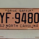 1962 North Carolina Rat Rod License Plate Tag NC #YF-9480 YOM